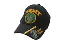 U.S. ARMY EMBLEM WITH SHADOW EMBLEM ON BLACK CAP