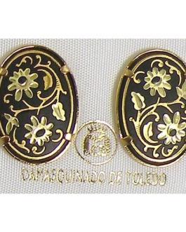 Damascene Gold 20mm x 14mm Oval Flower Stud Earrings by Midas of Toledo Spain style 810002