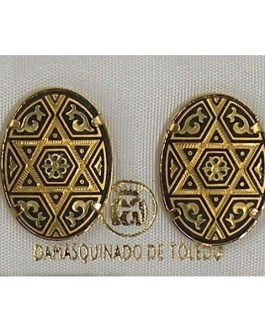 Damascene Gold 20mm x 14mm Oval Star of David Stud Earrings by Midas of Toledo Spain style 810002