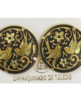 Damascene Gold 21mm Round Bird Stud Earrings by Midas of Toledo Spain style 810014