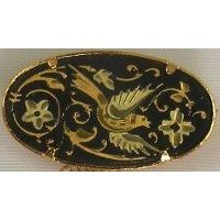 Damascene Gold Bird Oval Brooch by Midas of Toledo Spain style 825001