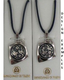 Damascene Silver Bird Kite Pendant on Cord Necklace by Midas of Toledo Spain style 9223