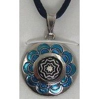 Damascene Silver and Enamel Blue Star Round Pendant on Cord Necklace by Midas of Toledo Spain style 9246