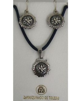 Damascene Silver Bird Round Pendant Necklace and Drop Earrings Set by Midas of Toledo Spain style 9402