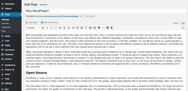 the post edit screen in WordPress admin panel