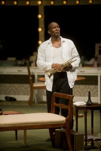 """John Douglas Thompson in the 2012 production of """"Satchmo at the Waldorf"""" photo by Kevin Sprague"""