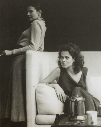 "Diane West and Sigourney Weaver in ""Old Times,"" Williamstown Theatre Festival, 1983; by Harold Pinter; directed by Alvin Epstein; photo by Bob Marshak"