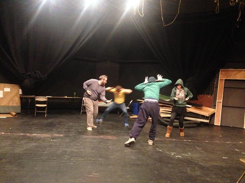"Kickwheel Ensemble Theater rehearsing its newest original theater piece, ""PASSAGE,"" at Millbrook School."