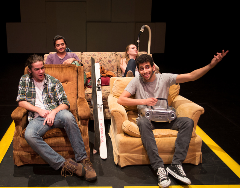"""Clockwise from front left: Spencer McCarrey, Joseph Baca, Jacqueline Lewy, and Jonah Levine in the Williams College Summer Theatre Lab 2014–15 season production of """"Go That Way;"""" photo courtesy WCSTL"""