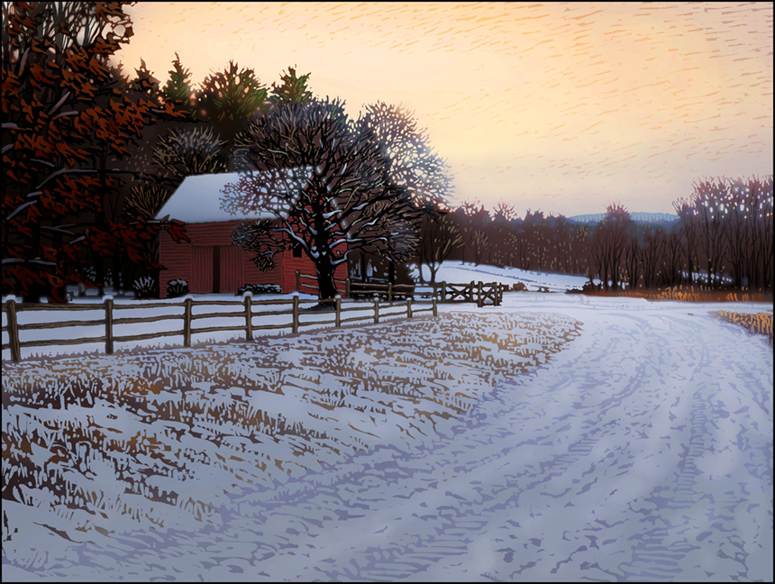 """""""Winter Dusk,"""" by John MacDonald; image courtesy Country Curtains"""