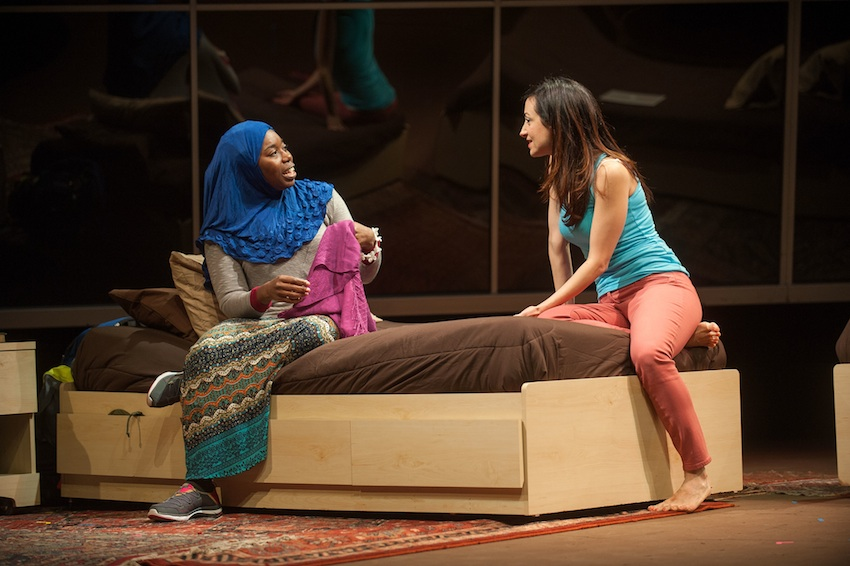 """Donnetta Lavinia Grays and Hend Ayoub in """"Veils"""" at Barrington Stage Company now through October 18; photo by Kevin Sprague"""