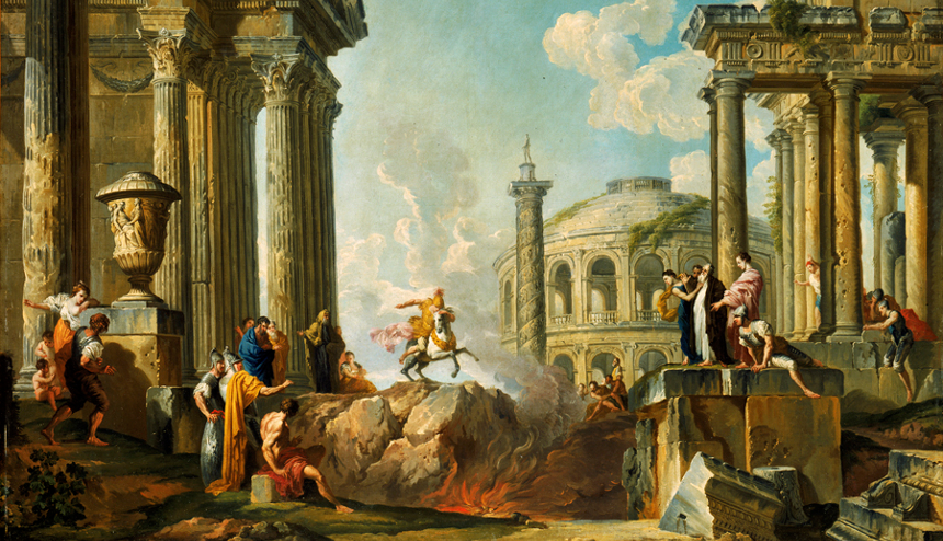 The Death Leap of Marcus Curtius, by Giovanni Paolo Panini (1691 - 1765). Has the political rift in the U.S. widened into a moral chasm?