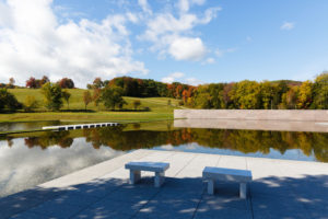 Stone Hill, viewed across the reflecting pool at the Clark Art Institute (photo, Tucker Bair)