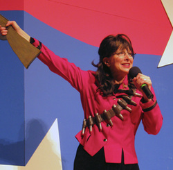 Capitol Steps member Bari Biern has played many, many characters, including former Alaska governor Sarah Palin (photo courtesy http://www.baribiern.com/).
