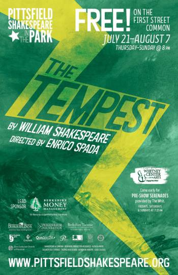 """Poster for """"The Tempest,"""" 2016's presentation for Pittsfield Shakespeare in the Park"""