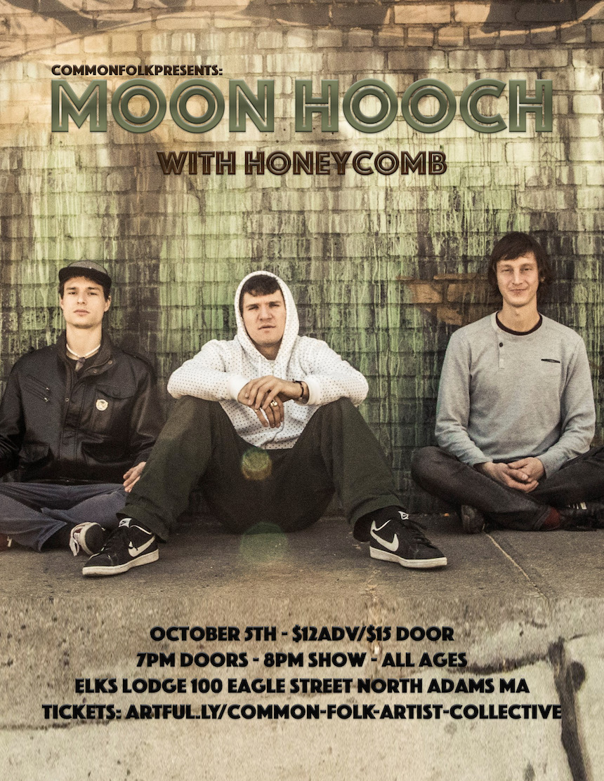 Brooklyn-based Moon Hooch, famous for their high-energy, danceable percussion/saxophone  music, is comprised of James Muschler, Mike Wilbur, and Wenzl McGowen.