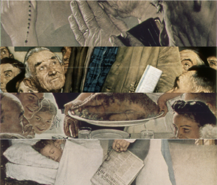 "Slivers of Norman Rockwell's iconic ""Four Freedoms"" paintings."