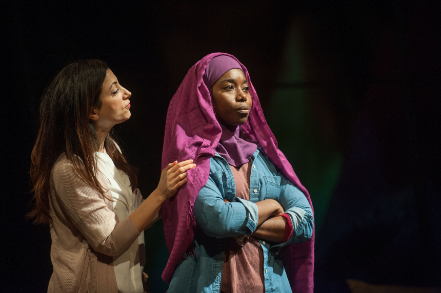 """Hend Ayoub and Donnetta Lavinia Grays in """"Veils, written by Tom Coash and directed by Leah C. Gardiner,"""" at Barrington Stage Company, October 2015; photo by Kevin Sprague"""