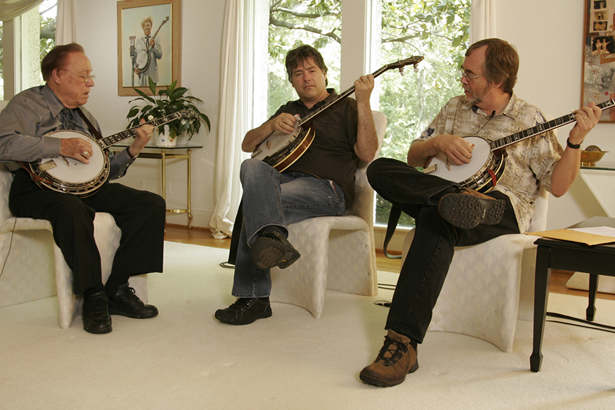 Left to right, Earl Scruggs, Béla Fleck, and Tony Trischka; photo courtesy the artist.