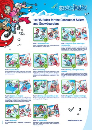 The  10FIS Rules of the Conduct for Skiers and Snowboarders, illustrated; courtesy snowkidz.com.