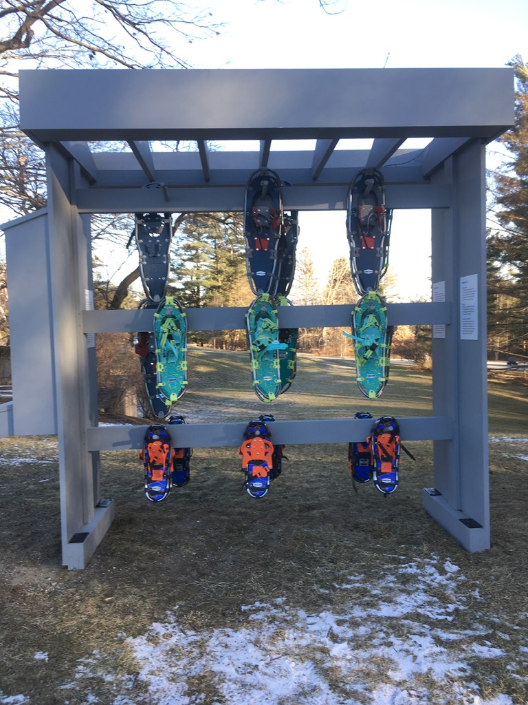 The Clark Art Institute lends out snow shoes, on the honor system, at no cost so that visitors can experience the grounds during Winter slumber; photo by Sara Farrell Okamura.