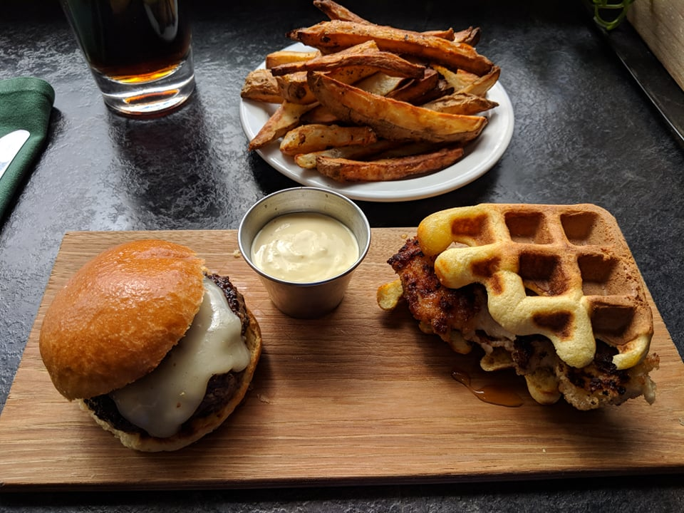 "Ordering up both the ""Little Bun"" cheeseburger and the ""Chicken and Waffle"" sandwich with a side of salt and vinegar fries turned out to be a good way to size up Berkshire Palate, this week's Unsung Eats; photo by James Kennedy."