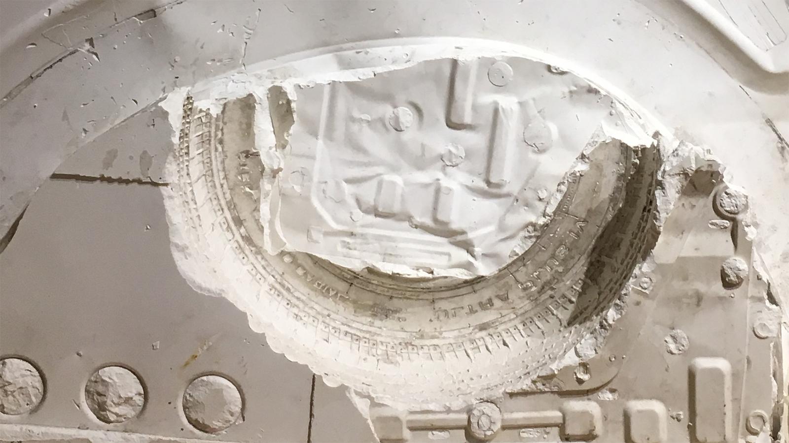 Dan Devine, Calf, plaster detail; Dan Devine, Calf, plaster; Giroux Gallery (photo: Sara Farrell Okamura).