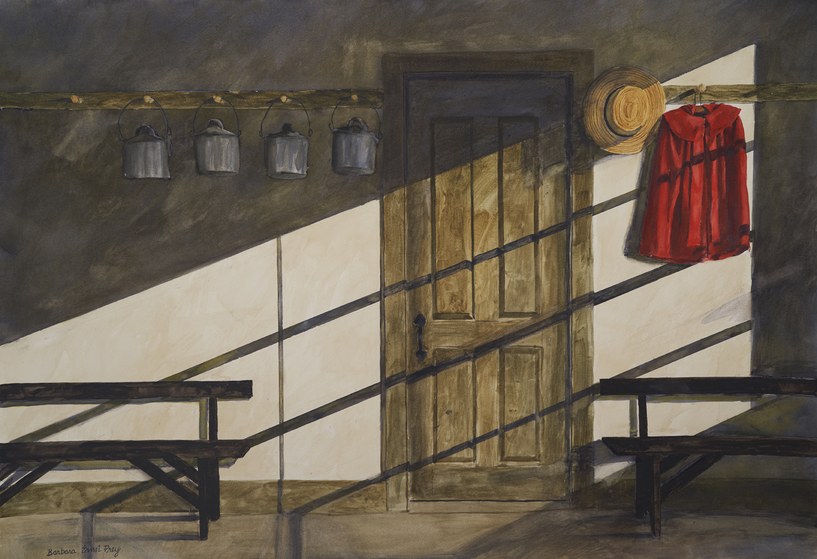 Barbara Ernst Prey, School Room, 2019, watercolor on paper; [source Hancock Shaker Village].