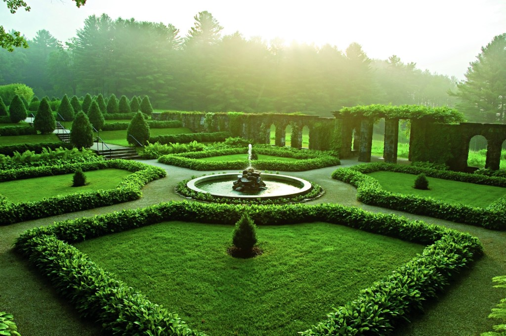 The lush, stone-walled Italian Garden at The Mount provides a respite from Northeastern summer heat and humidity; early morning photo by Kevin Sprague.