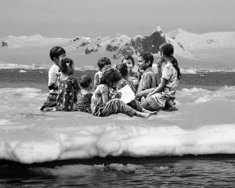 Mashup: Bangladeshi children; photo by Sadman Chowdhury; Antarctic Penguins on icefloe; photo by Jerzy Strzelecki, CC BY 3.0, via Wikimedia Commons