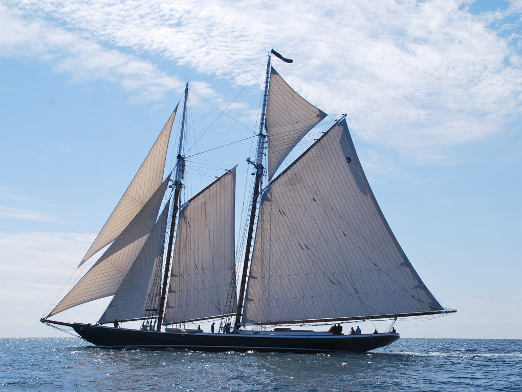Photo of a schooner (fast, sleek, two-masted sailing vessel) under full sail on a sunny day: Each Labor Day weekend, a variety of schooners visit Gloucester Harbor to honor the role the fishing schooner has played in the history of Gloucester and the eastern seaboard; photo by Anne-Marie Anderson, courtesy of Discover Gloucester.