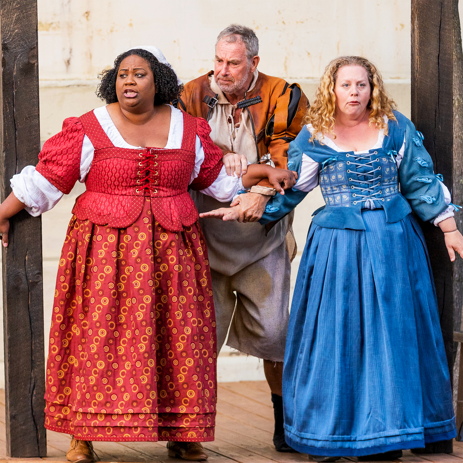 MaConnia Chesser, Nigel Gore, and Jennie M. Jadow as Meg Page, Sir John Falstaff, and Alice Ford (respectively) in The Merry Wives of Windsor; photo by Nile Scott Studios.
