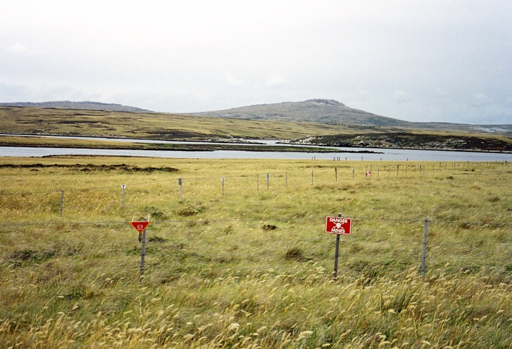 1982 Argentine minefield at Port William, Falkland Islands; public domain photo.