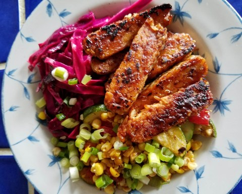 Image of a #summer #barbecue #tempeh bowl by Robin Catalano