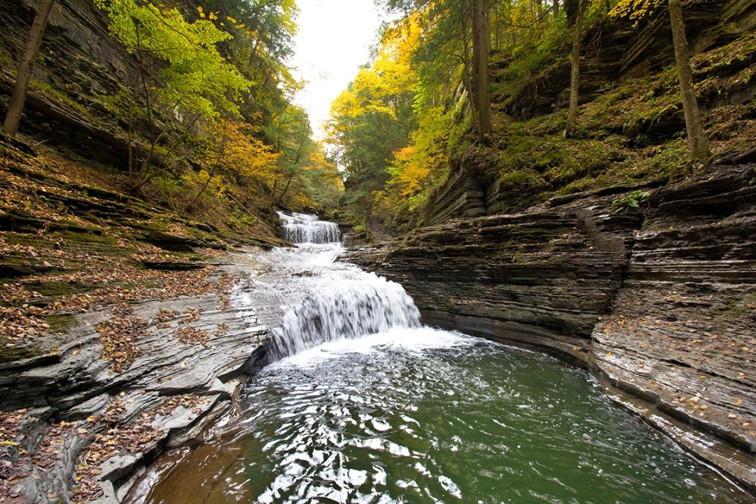 Ithaca Gorge Waterfalls in Fall; photo courtesy Hotel Ithaca.