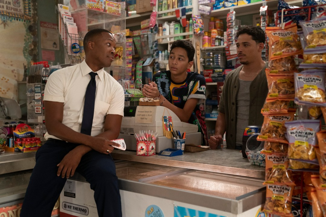 """Caption: (From left to right) Corey Hawkins as Benny, Gregory Diaz IV as Sonny and Anthony Ramos as Usnavi in Warner Bros. Pictures' """"In The Heights,"""" a Warner Bros. Pictures release; photo by Macall Polay."""