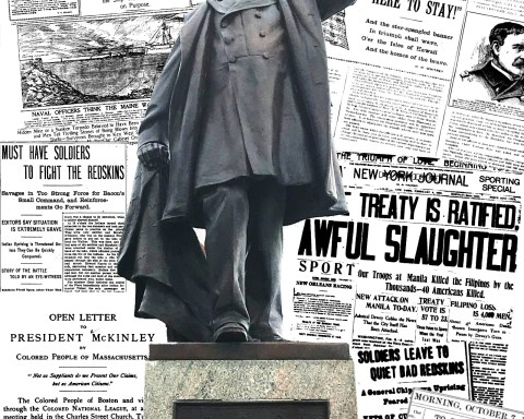 Statue of President William McKinley overlaid against collage of newspaper articles published during his administration; photo and design by Jason Velázquez.