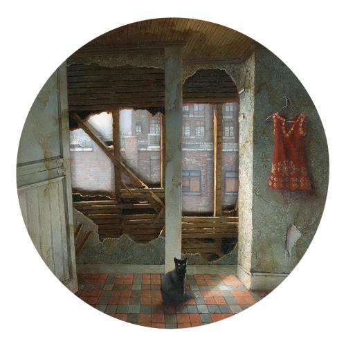 """Dina Brodsky - Demolition  Spyhole (2014) oil on Plexiglas, 8x8"""""""