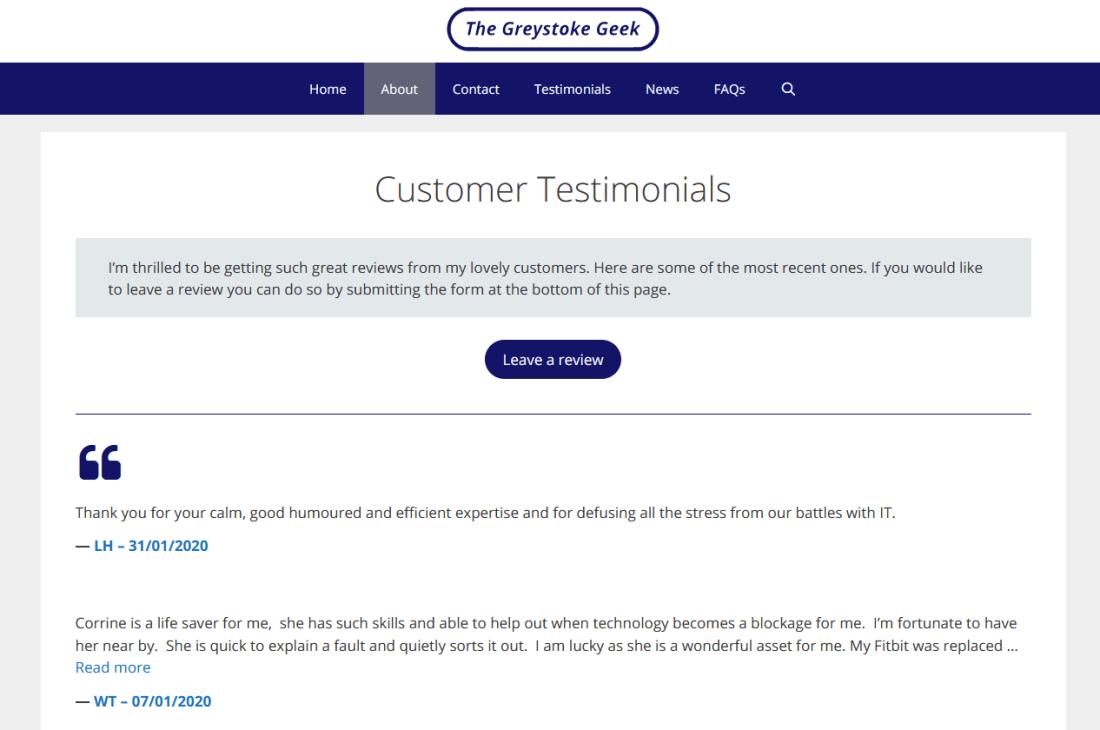 Customer Testomonials