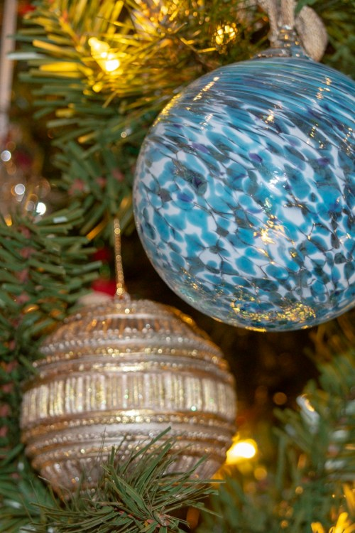 Blue Glass Blown Ornament