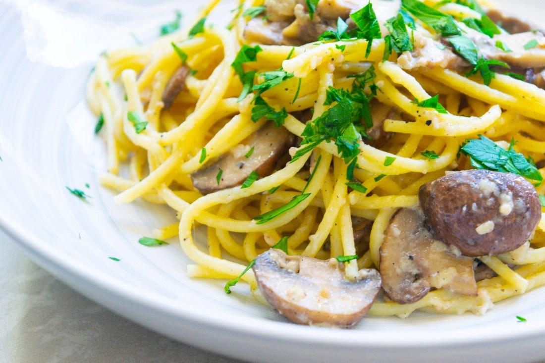 Mushroom & Garlic Spaghetti