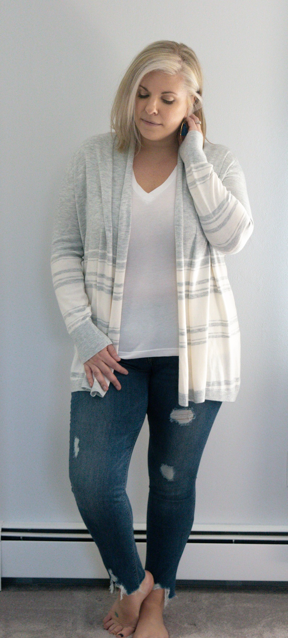 Grey stripes & distressed denim