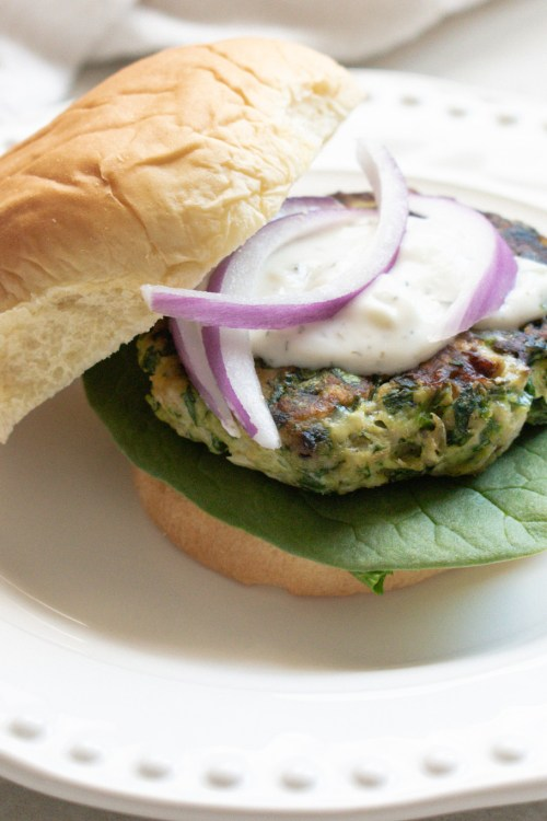 Spinach & Feta Chicken Burgers