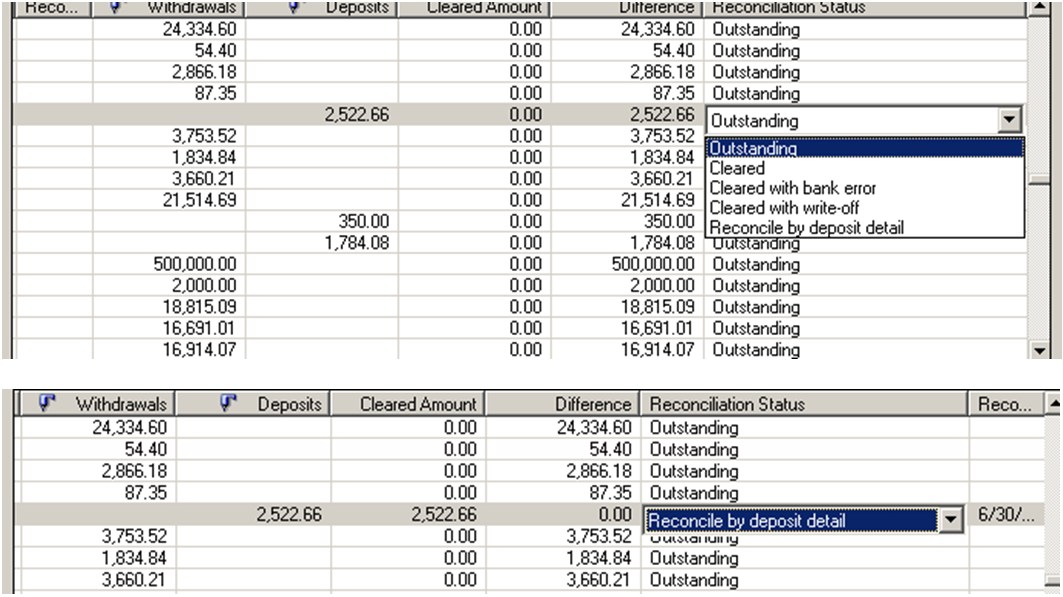 Clearing Deposit one by one in Bank Reconciliation