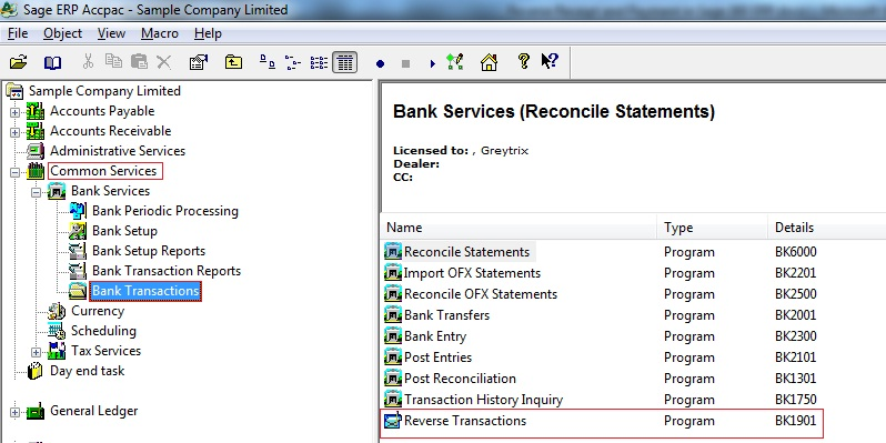 how to reverse a bank reconciliation in sage 300