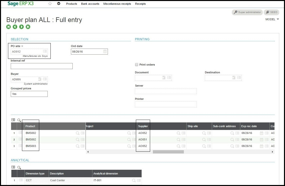 Mass Generation of Purchase Order – Sage X3