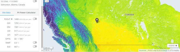 Edmonton Solar energy potential
