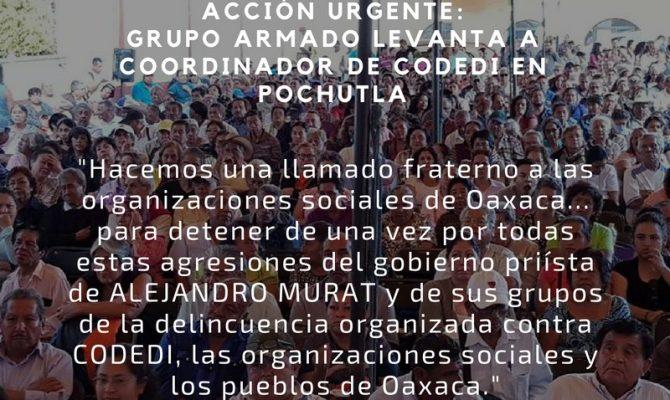 Acción urgente: Grupo armado levanta a coordinador de CODEDI en Pochutla (Oaxaca)