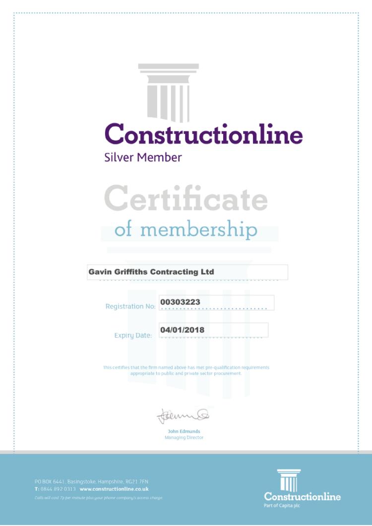 Gavin Griffiths Contracting receive Constructionline accreditation