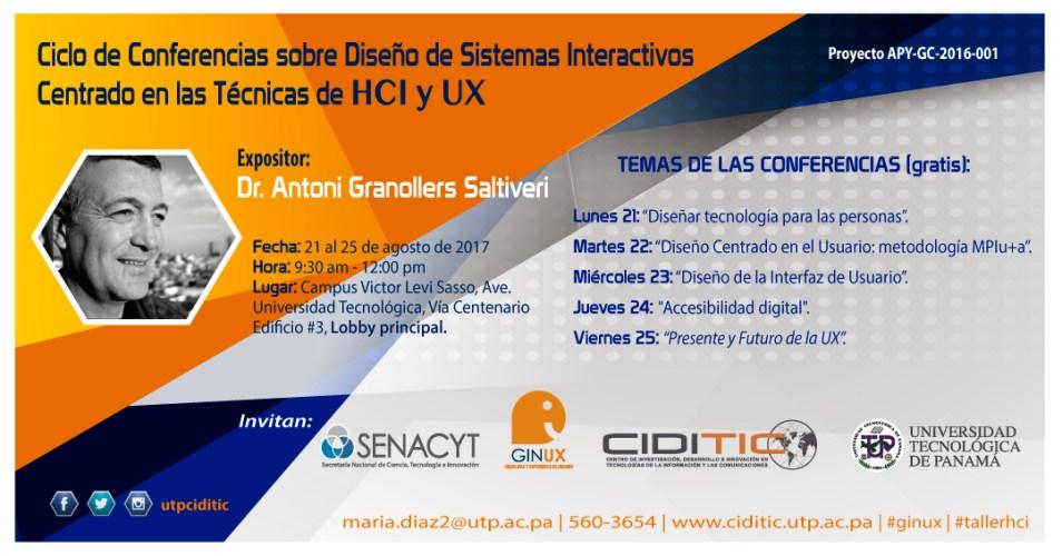 Ciclo de conferencias sobre Diseño de Sistemas Interactivos Centrado en las Técnicas de HCI y UX